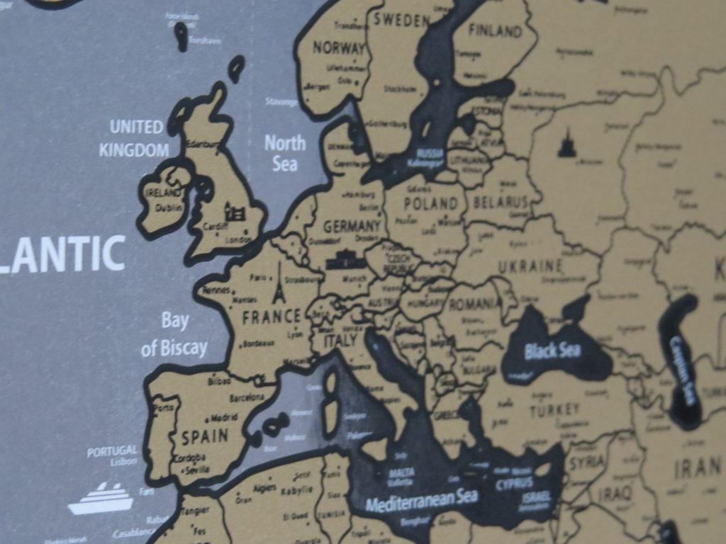 scratch map Europe view
