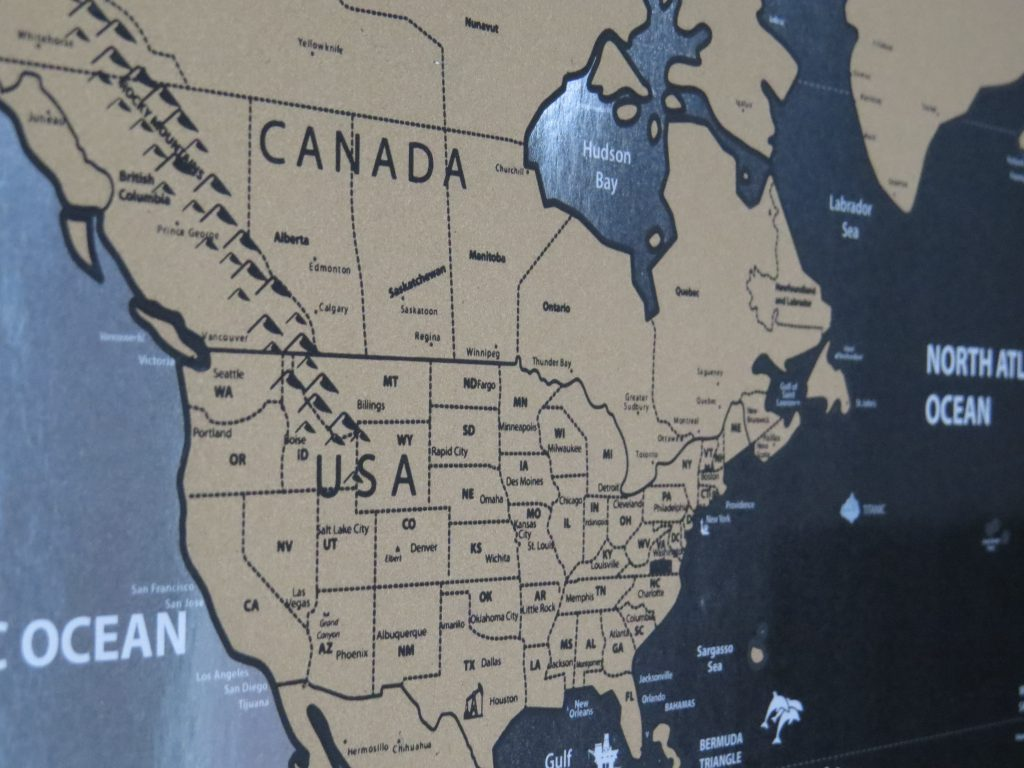 scratch map canada and usa view